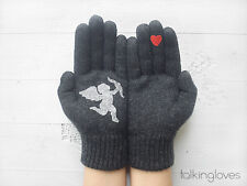 Artist Handmade Woman Kids Gray GLOVES Mittens CUPID & RED HEART Love