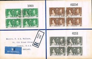 nyasaland 1937 coronation blocks of 4 with sheet numbers on cover [not fdc]
