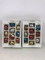 2 Boxes Vintage Noelle Glass Christmas Tree Ornaments Balls MULTICOLORED