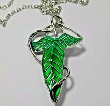Lord of The Rings Jewelry; Green Leaf Elven Pin Brooch Pendant Necklace Usa sale