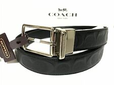 NWT Men's Coach F55158 Signature Reversible Cut-to-Size Leather Belt in Black