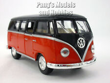VW T1 (Type 2) Bus 1/32 Scale Diecast & Plastic Model by Kinsmart - Black - Red