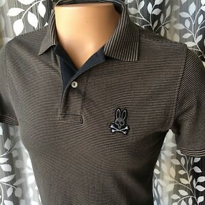 Psycho Bunny Men's Polo Shirt Thin Striped Embroidered Logo Size 4 / Small
