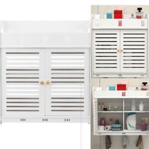 Wall Mounted Cabinet Bathroom Double Door Vanity Storage Cupboard Organizer UK