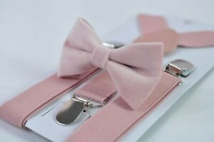 Blush Dusty Rose Pink Velvet Bow tie + Matched Elastic Suspenders for all ages