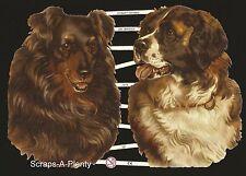 German Victorian Style Embossed Scrap Die Cut - Large Beautiful Dogs   EF7275