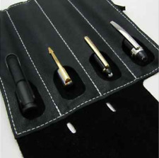 fountain ball pen Stationery storage bag pocket cow Leather pouch case black 041