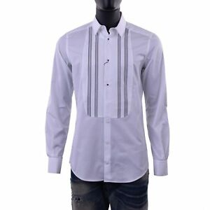DOLCE & GABBANA GOLD Slim Fit Smoking Evening Shirt Camicia White 06115