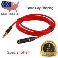 "2x4ft 3.5mm 1/8"" Stereo Audio Aux Headphone Cable Extension Cord M to F MP3"