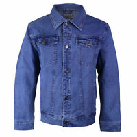 Wacky Jeans Men's Classic Premium Cotton Button Up Denim Jean Jacket Blue