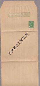 KGV St Vincent 1/2d Green Complete Newspaper Wrapper Unused SPECIMEN