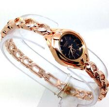 x145o Womens Girls Fashion Wrist Watch Slim Rose Gold Bracelet Black Dial Quartz