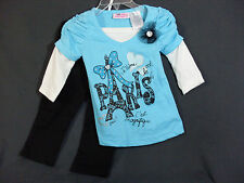 New Young Hearts Size 12 Months Toddler Girls Turquoise Shirt With Black Pants
