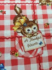 RPFNT04 Japanese Retro Kittens Kitsch Kitty Cute Love Notes Cotton Quilt Fabric