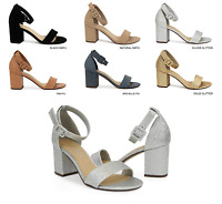 Women's Single Band Open Toe Block Heel Sandals With Ankle Strap ~ Disc