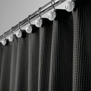 "mDesign Waffle Weave Fabric Shower Curtain - 72"" Long - Black"
