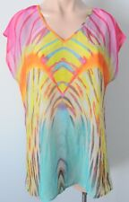 ROCKMANS Top Blouse Size 18 Xlarge Blue Pink Yellow Kaftan Tunic
