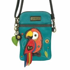 NEW CHALA TURQUOISE PARROT BIRD CELL PHONE CROSSBODY PURSE ADJUSTABLE STRAP