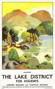 VINTAGE LAKE DISTRICT ULLSWATER RAILWAY TRAVEL Print Poster Wall Picture A4 +