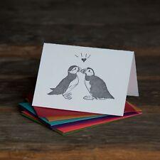 Puffins card, love birds illustration letterpress printed