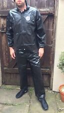 Shiny Wet Look Nylon Track Suit Pvc Sexy M rain Sport