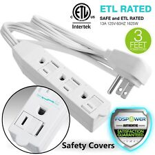 3 Outlet Wall Tap Power Strip Adapter 3FT Flat Plug Extension Cord [ETL Listed]