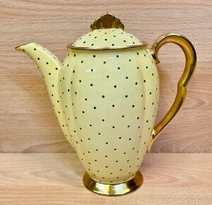 """Carlton Ware Yellow/Green """"Polka Dot"""" Pattern Coffee Pot."""