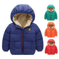Kids Toddlers Boys Gril Winter Warm Hoodie Jacket Outerwear Hooded Coat Clothes
