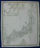 JAPAN, NAGASAKI HARBOUR, YESO (HOKKAIDO), original antique map, SDUK, 1844