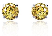 Yellow 4 carat CZ (Cubic Zirconium) earring studs in sterling