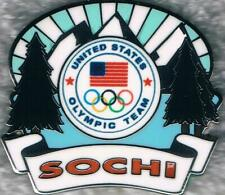 2014 Sochi Sky with Mountains and Evergreens USA Olympic Team Collector Pin