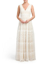 BASIX BLACK LABEL Ivory Sleeveless All Over Floral  Lace Maxi Dress Gown NWT 6