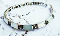 My S Collection 925 Sterling Silver, Marcasite & Mother of Pearl Bracelet