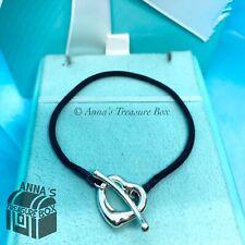 """Tiffany & Co. 925 Silver Elsa Peretti Open Heart Silk Toggle Bracelet 6"""" (pouch)"""