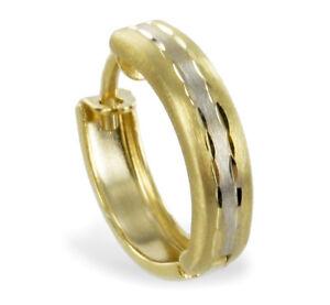 ECHT GOLD *** Kleine Herren Single-Creole Ohrring bicolor 12 mm