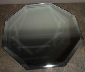 Decorative Hexagon Bevel Glass Mirror Collectible Figurine Display Riser Ganz