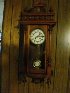 Antique Victorian Era German RA Regulator Wall Clock, Circa 1900, Works Well