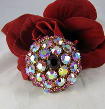Vintage Warner Dazzling Red Aroura Borealis Rhinestone  Pin Brooch CAT RESCUE
