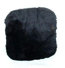 """Vintage CHILDS Dark Brown Fur Hand Muff Warmer w Distressed Satin Lining Appx 8"""""""