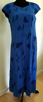 COLDWATER CREEK Women's Blue Floral Maxi DRESS Petite Size 10P Button Down