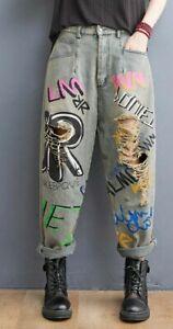 Vtg Distressed Denim graffiti Street  Arty Punk Drop Crotch Loose Rip Jeans  12