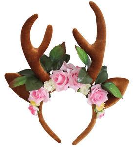 Reh Haarreif mit Blumen, Reh Ohren und Geweih Haarschmuck Accessoire 125723213F