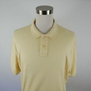 Eddie Bauer Mens Soft Cotton Short Sleeve Solid Pastel Yellow Polo Shirt XLT
