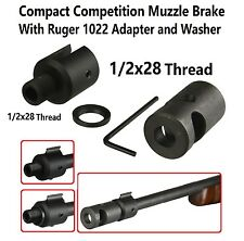 Compact Competition Muzzle Brake and Slip On Ruger 1022 Adapter 1/2x28 Thread