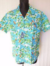 EASY Hawaii Palm Tree Short Sleeve Men's Cotton shirt Size L