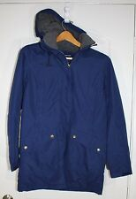 Womens LANDS END Navy Blue Lined Heavy Parka Winter COAT Removable Hood XS 2-4