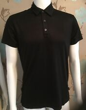 ARMANI JEANS BLACK SOFT FEEL VISCOSE SLIM FIT POLO SHIRT SIZE LARGE 38inch CHEST