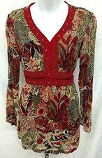 Womens Bila Red Peasant Empire Waist Boho Tunic Top w/Lace & Flared Sleeves Sz S