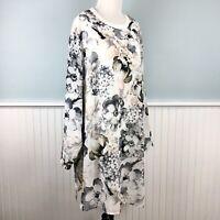 SIZE 1X Calvin Klein Floral Chiffon Overlay Top Blouse Shirt Womens Plus NWT New