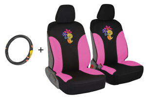 2 Pc Car Seat Covers+ Steering Wheel Cover Tweety Bird Combo Gift Set Pack
